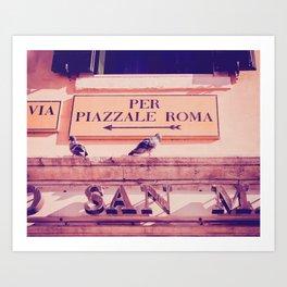 Italian Sign In Venice Fine Art Print Art Print