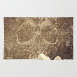 Skull Human Vintage Flowers Digital Collage Rug