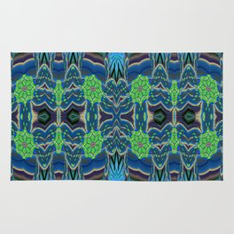 Blue Green Surreal Floral Rug