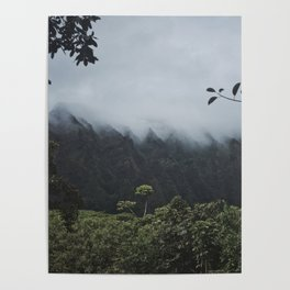 Foggy Oahu Green Poster