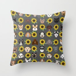 Dogs and cats pet friendly sunflowers animal lover gifts dog breeds cat person Throw Pillow