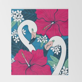 Flamingos and tropical flowers and leaves Throw Blanket