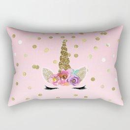 Floral Trendy Modern Unicorn Horn Gold Confetti Rectangular Pillow