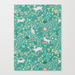 Spring Pattern of Bunnies with Turtles Canvas Print