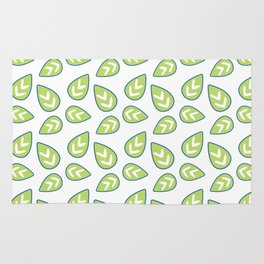 Modern green white abstract geometrical leaves Rug
