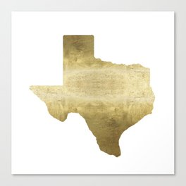 texas gold foil print state map Canvas Print
