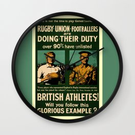 British rugby, football players call for duty Wall Clock