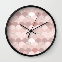 Rose Gold and Mauve Tiles Wall Clock