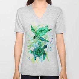 Sea Turtles Underwater Scene Turquoise Blue design Unisex V-Neck