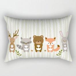 Cute Woodland Forest Animals Rectangular Pillow