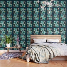 Beautiful Art Deco Midnight Bluebirds And Blossoms Wallpaper