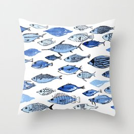 Aquarium blue fishes Throw Pillow