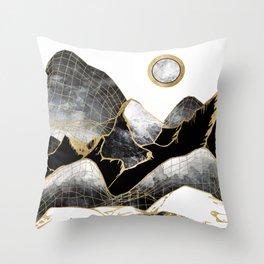 Minimal Black and Gold Mountains Throw Pillow