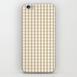 Christmas Gold Large Gingham Check Plaid Pattern iPhone Skin