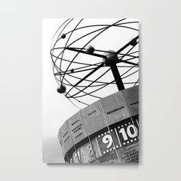 World Clock Berlin BW Metal Print