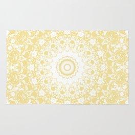 White Lace Mandala on Sunshine Yellow Background Rug