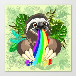 Sloth Spitting Rainbow Colors Canvas Print