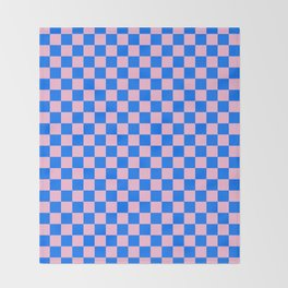 Cotton Candy Pink and Brandeis Blue Checkerboard Throw Blanket