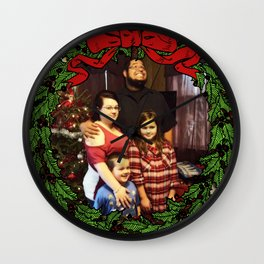 Funny Family Christmas Photo Wall Clock