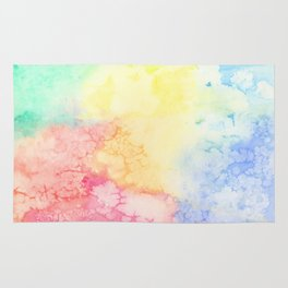 Rainbow Clouds Watercolor Rug