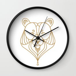 Gold Bear Two Wall Clock