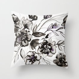 Ink Flowers Throw Pillow