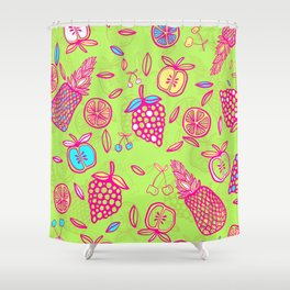 Tropicana on lime green Shower Curtain