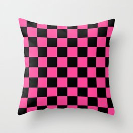 Black and Pink Checkerboard Pattern Throw Pillow