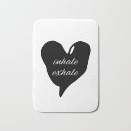 Society6 inhale exhale black heart Bath Mat