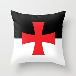 Knights Templar Flag - High Quality Throw Pillow
