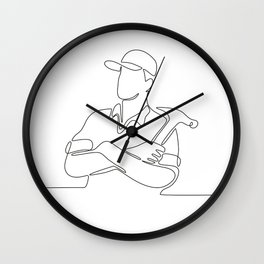 Builder Carpenter Continuous Line Wall Clock