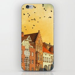 Landscape with beautiful medieval houses and canals. Bruges, Belgium. iPhone Skin