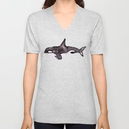 Watercolor Orca Killer Whale Unisex V-Neck