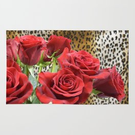 Leopard Roses // Wild Roses, Red Flowers Rug