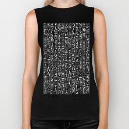 Hieroglyphics B&W INVERTED / Ancient Egyptian hieroglyphics pattern Biker Tank