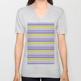 Trendy violet pink yellow modern stripes pattern Unisex V-Neck