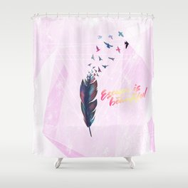 Geo Feather Shower Curtain