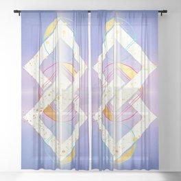 Linked Lilac Diamonds :: Floating Geometry Sheer Curtain