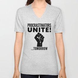 Procrastinators Unite Tomorrow (Red) Unisex V-Neck