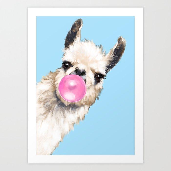 Bubble Gum Sneaky Llama in Blue Art Print