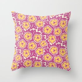 Flower Bouquet Pattern Magenta and Yellow Throw Pillow