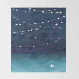 Garlands of stars, watercolor teal ocean Throw Blanket