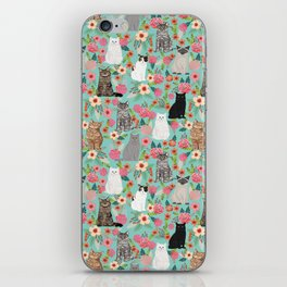 Cats floral mixed breed cat art cute gifts for cat ladies cat lovers pet art iPhone Skin