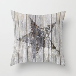 Grunge Star on old weathered grey wood Throw Pillow