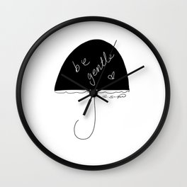 on rainy days be gentle to self Wall Clock