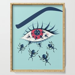 Creepy Red Eye With Ants Serving Tray