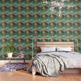 Blue green and brown art Wallpaper