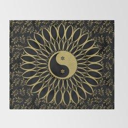 'Yin Yang Golden Daisy' Gold Black mandala Throw Blanket