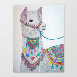Colorful Llama Canvas Print
