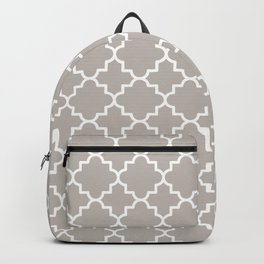Classic Quatrefoil pattern, warm grey Backpack